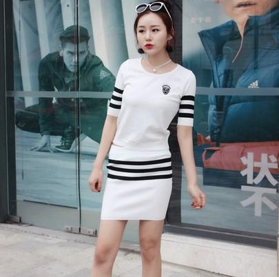 EASON SHOP(GU9740)實拍套裝撞色條紋女上衣服針織短版彈力貼身短袖T恤鬆緊腰收腰針織短裙包臀裙黑色