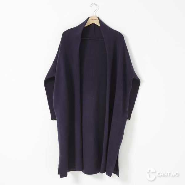 CANTWO大翻領針織長罩衫-共兩色