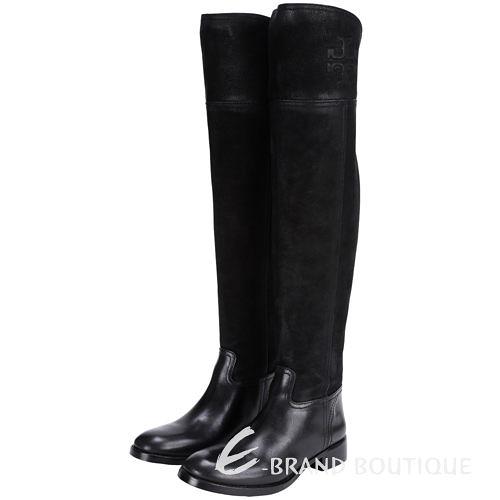 TORY BURCH SIMONE OVER 拼接設計過膝長靴(黑色) 1510449-01