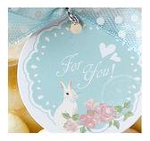 幸福朵朵*【禮物吊卡包裝3.5X3.5圓形吊牌-小兔花園(藍)X100張-不含其它配件】婚禮小物禮物