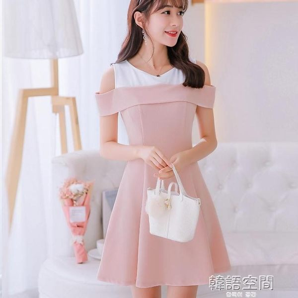 現貨出清 大碼韓版短袖百搭洋裝女時尚顯瘦拼接打底裙 韓語空間 9-5