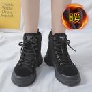 雪地靴 女2020年秋冬季新款英倫風百搭瘦瘦棉鞋加絨厚底雪地短靴子