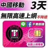 【TPHONE上網專家】 中國移動 3天無限4G高速上網 不降速 不須翻牆 FB/LINE直接用