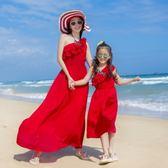 母女裙 2018原創設計度假夏季新款露肩韓版沙灘親子裝連身裙 母女裝紅色【韓國時尚週】