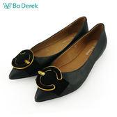 【Bo Derek 】 C字扣環真皮平底鞋-黑色