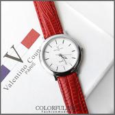 范倫鐵諾Valentino 極簡時刻 銀色刻度皮革手錶對錶 真皮錶帶 柒彩年代【NE873】單支價格