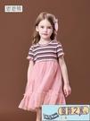 兒童連身裙 女童連身裙短袖蓬蓬紗裙子夏季...