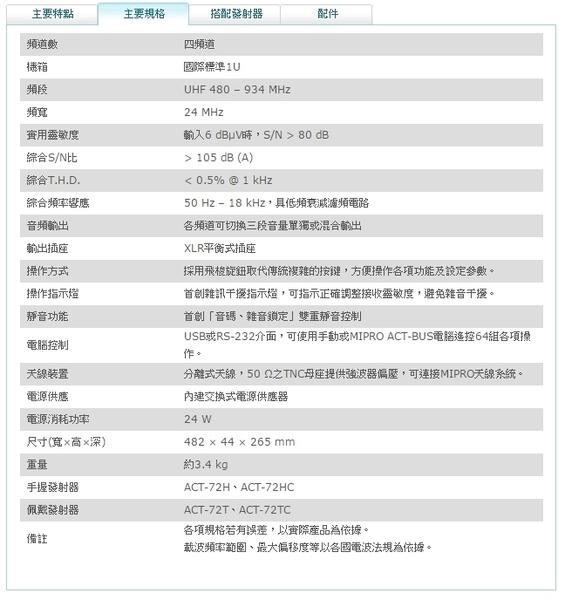 ^聖家^MIPRO 嘉強窄頻四頻道純自動選訊接收機 ACT-747B【全館刷卡分期+免運費】