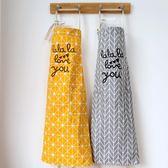 風格圍裙韓版棉麻清潔工作無袖圍裙