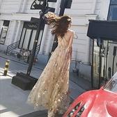 名媛風生日宴會派對 亮片晚禮服中長裙 性感露背刺繡吊帶連身裙女神  店慶降價