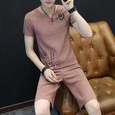 男運動套裝夏季棉麻休閒寬鬆潮流2019新款短褲五分褲薄款短袖T恤 FR8216『俏美人大尺碼』