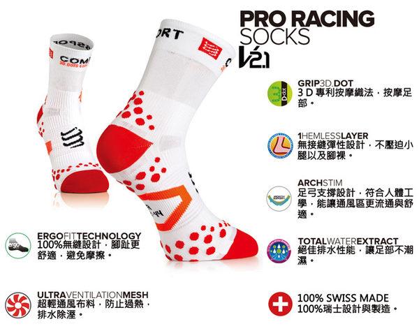 【線上體育】COMPRESPPORT  CS-V2.1 RUN 踝襪 白/藍 T3