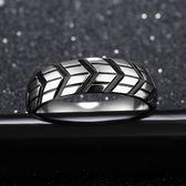 車輪胎印指環男鈦鋼黑色食指大拇指戒指 ☸mousika