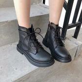 馬丁靴韓國ULZZANG原宿復古百搭英倫繫帶短靴機車網紅高筒鞋女馬丁可卡衣櫃