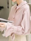 襯衫女 襯衫女設計感小眾2020春裝新款復古港味洋氣女士輕熟早春條紋上衣  維多