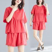 亞麻套裝女夏季新款韓版中大尺碼 寬鬆顯瘦時尚短袖女短褲兩件套潮