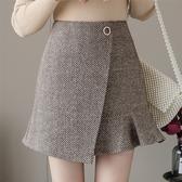 韓系 A字裙 人字斜毛呢魚尾短裙半身裙時尚高腰顯瘦A字裙T617 依品國際
