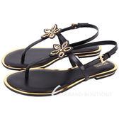 Michael Kors 花朵飾金色滾邊夾腳涼鞋(黑色) 1740065-01