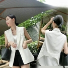 西裝馬甲 白色西裝馬甲女短款坎肩外套春夏正韓棉麻背心馬甲女時尚-Ballet朵朵