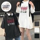 EASON SHOP(GQ1018)慵懶風四格圖像字母印花落肩寬版圓領五分短袖素色棉T恤OVERSIZE女上衣服閨蜜裝