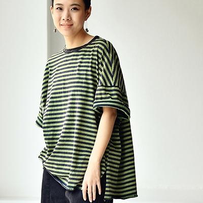 純棉水洗做舊條紋T恤 圓領捲邊短袖套頭衫/2色-T0630C-夢想家-0514