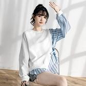 長袖t恤女春秋2020新款寬鬆韓版假兩件拼接上衣ins女潮小眾設計感 【蜜斯蜜糖】