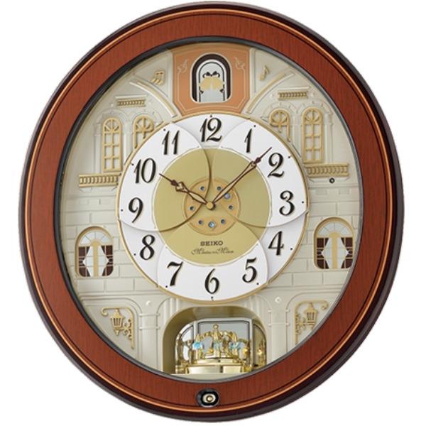 【時間光廊】SEIKO 日本精工 絕美之城 音樂掛鐘(QXM368B)-咖啡/47x43cm