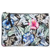 茱麗葉精品【全新現貨】Christian Dior 浮雕LOGO花卉女性塗鴉手拿包.黑