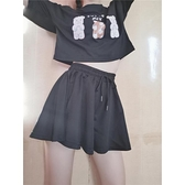 黑色褲子女寬鬆夏高腰抽繩百搭顯瘦休閒褲垂感ins超火褲裙短褲潮 阿卡娜