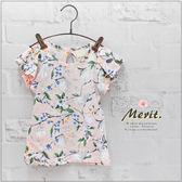純棉 韓版花朵氣質荷葉袖上衣  韓系 女童 可愛 時尚 修身 清新 T恤