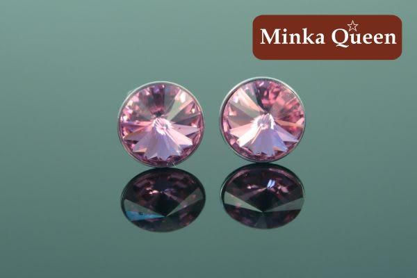 德國鈦鋼淺粉紅色慧心石抗敏耳環(一對)(6 mm)