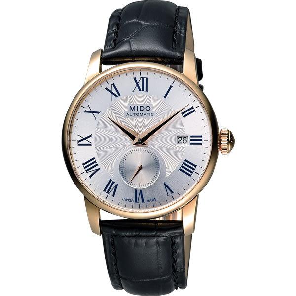 MIDO 美度 Baroncelli II 羅馬假期小秒針機械手錶-銀x玫塊金框 M86083214