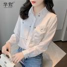 (促銷全場九折)設計感小眾上衣ins秋裝宮廷風白襯衫女氣質淑女長袖雪紡襯衫