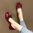 4cm粗跟中跟方頭奶奶鞋女復古舒適高跟鞋低跟蝴蝶結配裙子的單鞋『新佰數位屋』