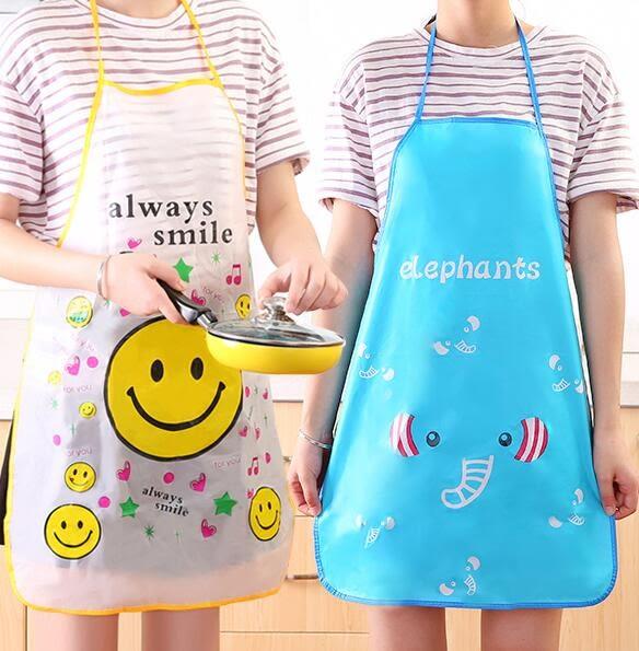 【TT】韓版時尚家居可愛卡通做飯圍裙廚房防水防油無袖罩衣女圍腰