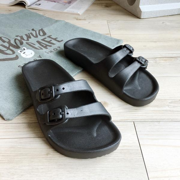 動能系列-輕感雙排扣休閒女拖鞋-黑