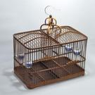 鳥籠 竹制鳥籠 手工自制方籠雙格抱籠黃豆鳥籠貝子黃雀 靛頦竹籠蠟嘴籠 快速出貨
