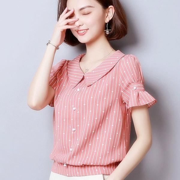 遮肚子雪紡襯衫女裝2021新款短袖寬鬆顯瘦打底衫上衣氣質洋氣小衫 快速出貨