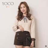東京著衣【YOCO】浪漫貴氣撞色胸針可拆針織上衣(191747)