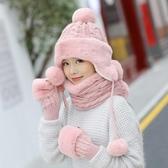 帽子女 針織帽 冬季帽子圍巾手套三件套女保暖護耳騎行防風毛線帽【多多鞋包店】yp125