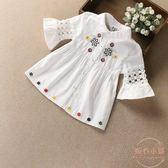 女童夏季新款棉質花邊襯衫白色兒童中小童花邊領短袖襯衣童裝 【店內再反618好康兩天】