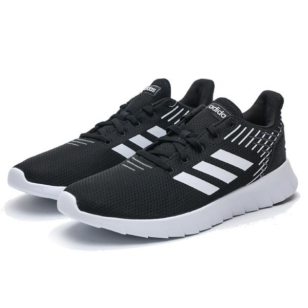 ADIDAS ASWEERUN 黑白 輕量 編織 慢跑鞋 男(布魯克林) F36331
