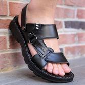 平底涼鞋 涼鞋男真皮夏季 新款 厚底 沙灘鞋防滑軟底中老年爸爸兩用涼拖鞋 熱銷88折