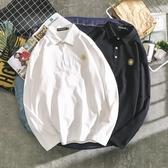 男士長袖t恤翻領棉丅桖有刺繡保羅衫polo衫潮流衣服打底衫男體恤   蘑菇街小屋