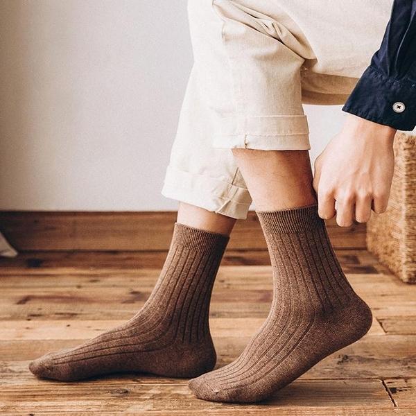 男中筒襪 襪子冬季長襪男士中筒純棉襪吸汗防臭黑色商務男襪純色 萬寶屋