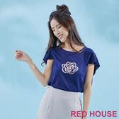 RED HOUSE-蕾赫斯-玫瑰拼接雪紡針織衫(共二色)
