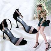 夏季新款韓版百搭高跟鞋女顯瘦細跟黑色工作鞋金屬扣露趾涼鞋    韓小姐