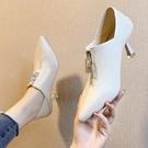 細跟單鞋女2021秋新款尖頭黑色高跟鞋百搭早春深口前拉鏈兩穿女鞋 伊蘿 618狂歡
