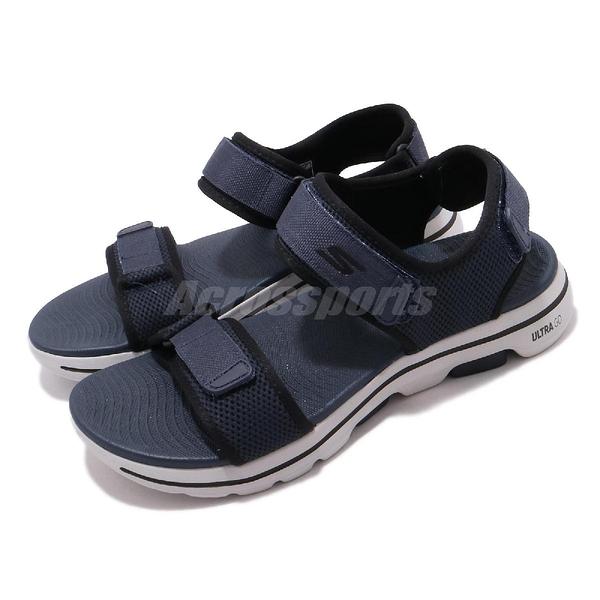 Skechers 涼拖鞋 Go Walk 5 藍 黑 男鞋 吸震中底 魔鬼氈 涼鞋【ACS】 229003NVBK