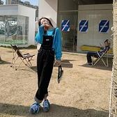 韓版黑色牛仔背帶褲女潮寬松顯瘦休閒吊帶直筒褲子【大碼百分百】